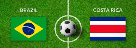 Voetbalwedstrijd Brazilië versus Costa Rica stock illustratie