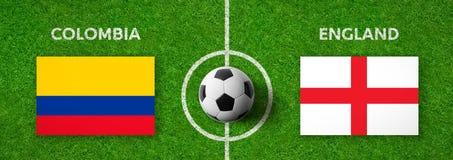 Voetbalwedstrijd Colombia versus engeland stock illustratie
