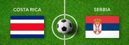 Voetbalwedstrijd Costa Rica versus servië stock illustratie