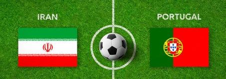 Voetbalwedstrijd Iran versus portugal royalty-vrije illustratie