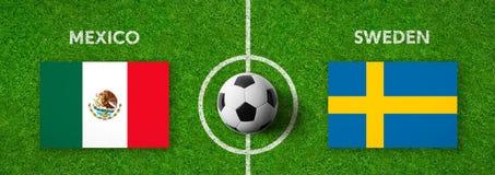 Voetbalwedstrijd Mexico versus zweden royalty-vrije illustratie