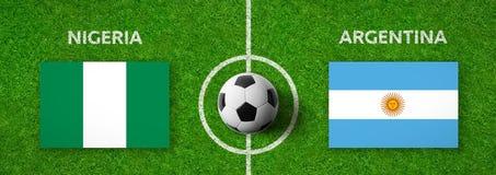 Voetbalwedstrijd Nigeria versus argentinië royalty-vrije illustratie
