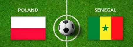 Voetbalwedstrijd Polen versus senegal stock illustratie