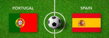 Voetbalwedstrijd Portugal versus spanje royalty-vrije illustratie