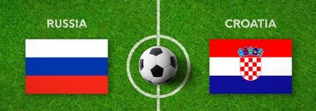 Voetbalwedstrijd Rusland versus Kroatië royalty-vrije illustratie