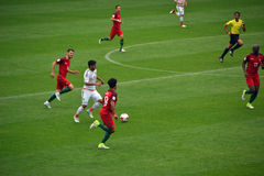 Voetbalwedstrijd tussen Portugal en Mexico in Moskou 2 Juni, 2017 Stock Foto
