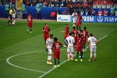 Voetbalwedstrijd tussen Portugal en Mexico in Moskou 2 Juni, 2017 Royalty-vrije Stock Foto's