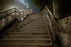 Voetbrug bij fogy nacht Stock Afbeelding