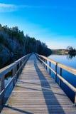 Voetbrug over meer Gothenburg, Zweden 2018 royalty-vrije stock fotografie