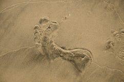 Voetdruk in het zand Stock Afbeeldingen