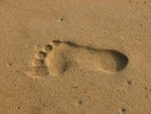 Voetdruk op zand stock afbeelding