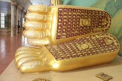 Voetdruk van het het doen leunen Boedha standbeeld royalty-vrije stock foto