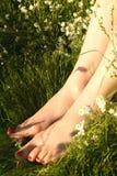 Voeten in de lentebloemen stock foto