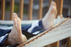Voeten in een Hangmat! Royalty-vrije Stock Fotografie