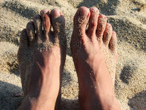 Voeten in het zand Royalty-vrije Stock Foto's
