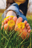 Voeten op het gras Stock Fotografie