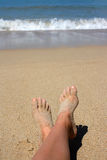 Voeten op het strand Royalty-vrije Stock Foto