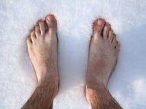 Voeten in sneeuw Stock Fotografie