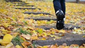Voeten van tiener of vrouw die boven in laarzen in de herfst lopen stock video