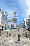 Voetgangers bij Kleurrijke Koloniale Architectuur Pelourinho Salvador Brazil Stock Foto