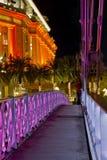 Voetgangersbrug bij Nacht Royalty-vrije Stock Foto