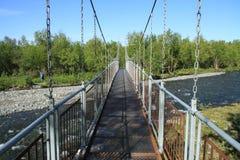 Voetgangersbrug in de bergen Stock Afbeelding
