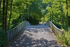 Voetgangersbrug in het park, stedelijk recreatief gebied royalty-vrije stock afbeeldingen