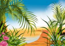 Voetgangersbrug op het strand royalty-vrije illustratie