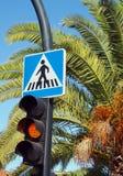 Voetgangersoversteekplaatsteken met palm en verkeerslichten stock afbeeldingen