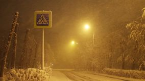 Voetgangersoversteekplaatsteken, sneeuwval op lege weg bij nacht in de stad stock video