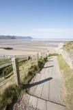 Voetpad aan strand Royalty-vrije Stock Afbeelding