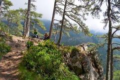 Voetpad in de schilderachtige bergen Stock Afbeeldingen