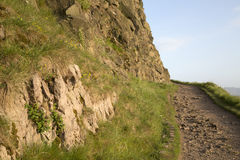 Voetpad op de Steile rotsen van Salisbury, Holyrood-Park, Edinburgh royalty-vrije stock foto's