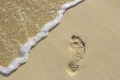 Voetstap op het zand royalty-vrije stock foto