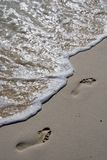 Voetstappen in het Zand royalty-vrije stock foto's