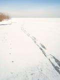 Voetstappen op bevroren meerchiemsee (11) stock foto