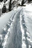 Voetstappen op de sneeuw Royalty-vrije Stock Afbeelding