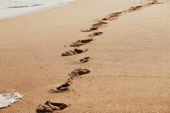 Voetstappen op het strand stock afbeeldingen
