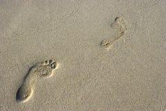 Voetstappen op het zand Stock Afbeeldingen