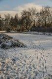 Voetstappen in sneeuw royalty-vrije stock foto's