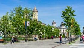 Voetstraat in een groen milieu in Iasi royalty-vrije stock afbeelding