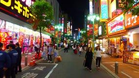 Voetstreek van Musashino-straatshinjuku Tokyo Japan bij nacht stock videobeelden