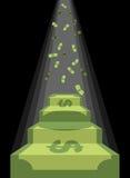 Voetstuk uit geld Ladder aan rijkdom van dollars Regen van Contant geld vector illustratie