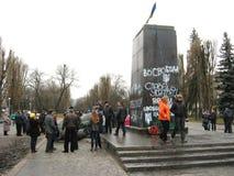 Voetstuk van geworpen monument aan Lenin Stock Fotografie