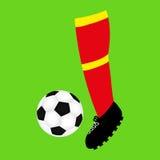 Voetvoetbal en voetbalbal royalty-vrije illustratie