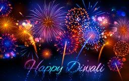 Voetzoeker op Gelukkige Diwali-Vakantieachtergrond voor licht festival van India Stock Afbeeldingen