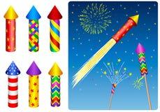 Voetzoeker, vuurwerk, raket Royalty-vrije Stock Foto