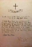 Voeux de Mère Teresa écrits dans sa main Photographie stock libre de droits