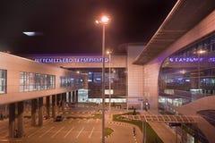 Voew d'aéroport Sheremetievo la nuit à Moscou Photos stock