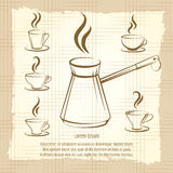 Voffee maker and cups vintage poster Stock Images